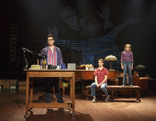 (From L) Kate Shindle as 'Alison,' Abby Corrigan as 'Medium Alison' and Carly Gold as 'Small Alison' in Fun Home. Photo: Joan Marcus
