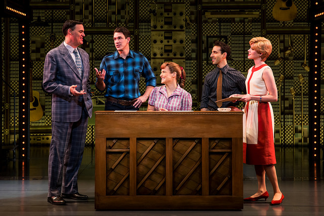 """Four Friends. (l to r) James Clow (""""Don Kirshner""""), Andrew Brewer (""""Gerry Goffin""""), Sarah Bockel (""""Carole King""""), Jacob Heimer (""""Barry Mann"""") and Sarah Goeke (""""Cynthia Weil"""")."""