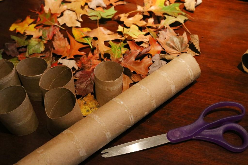 Paper towel roll-leaves