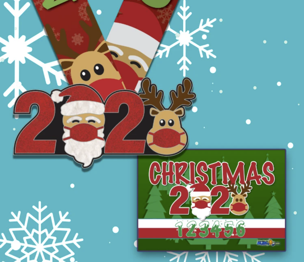 Christmas Virtual Race 5K - Santa and Reindeer in face masks