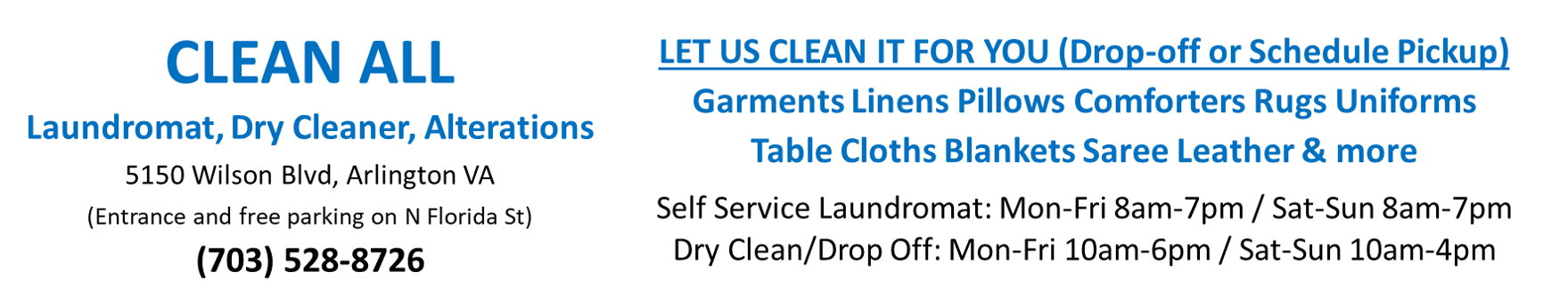 Clean All Dry Cleaners and Laundromat in Arlington VA close to Washington DC- Pickup and Delivery