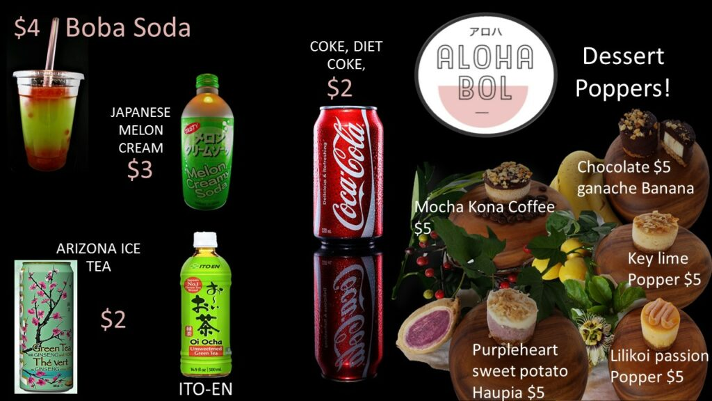 Alohabol Drinks and dessert poppers key lime mocha kona coffee chocolate ganache banana passionfruit lilikoi sweet potato haupia boba japanese melon plus cdb pog