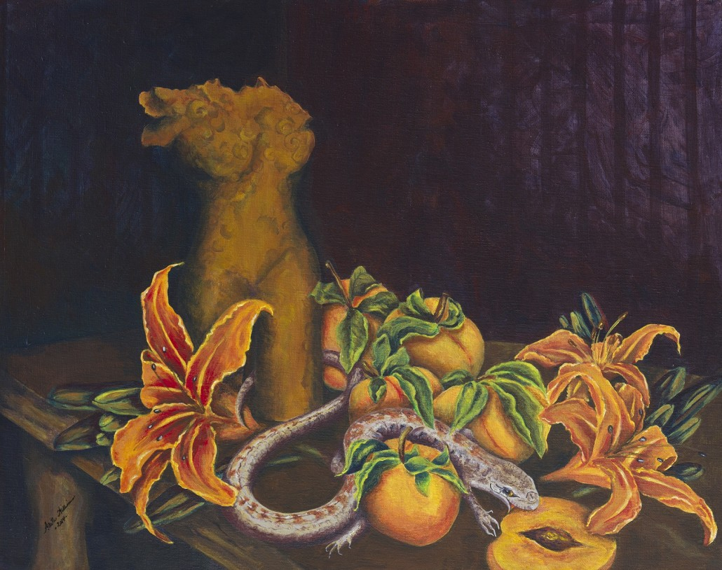 A still life in the manner of the Old Masters. Setting includes a pottery torso sculpture, tiger lilies and peaches, with a lizard crawling around between the peaches.