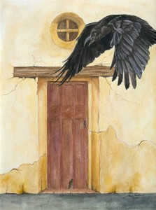 A large black raven flies by the doorway of an old mission.