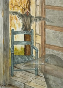 """Allegorical painting of a tiny cottage in the country, a watercolor of an old woman who used to live there and always fed the ravens. She's died and thus they are """"lost."""" The baby knows no different home than this one. Mother raven tries to coax her baby to follow her into death, yet the baby lingers; half in this world, half in mama's world."""