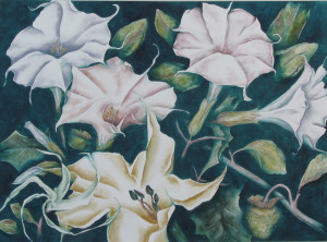 Large watercolor of a gathering of datura flowers and leaves in a dark, midnight setting.