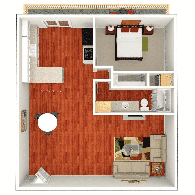 1 BED 1 BATH 780 Sq. Ft. floor plan