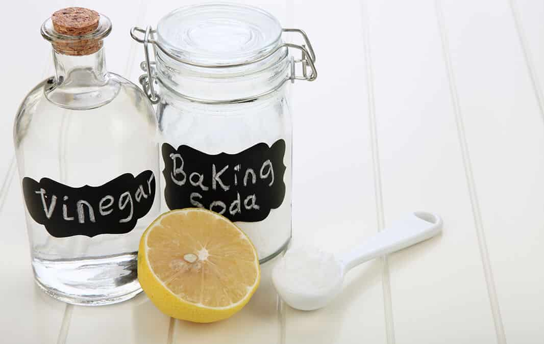 vinegar, baking soda, and lemon as nontoxic cleaners