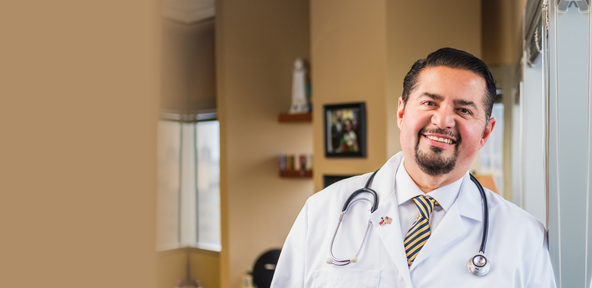 Attorney Joe Flores with stethoscope on his neck