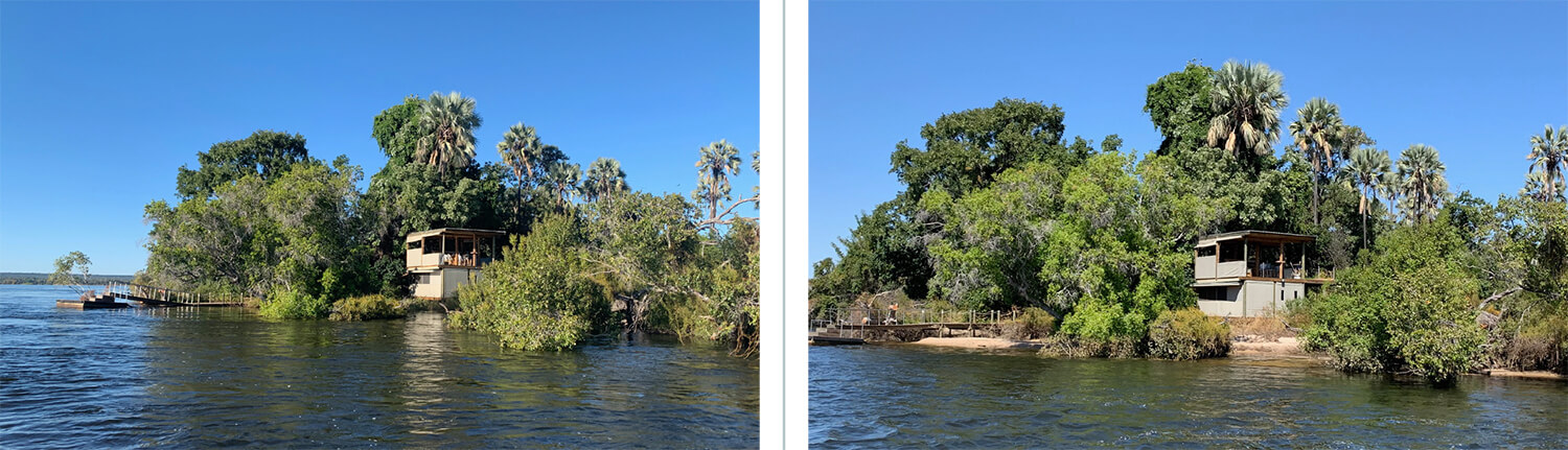 Zambezi River Water Level Comparison at The Island