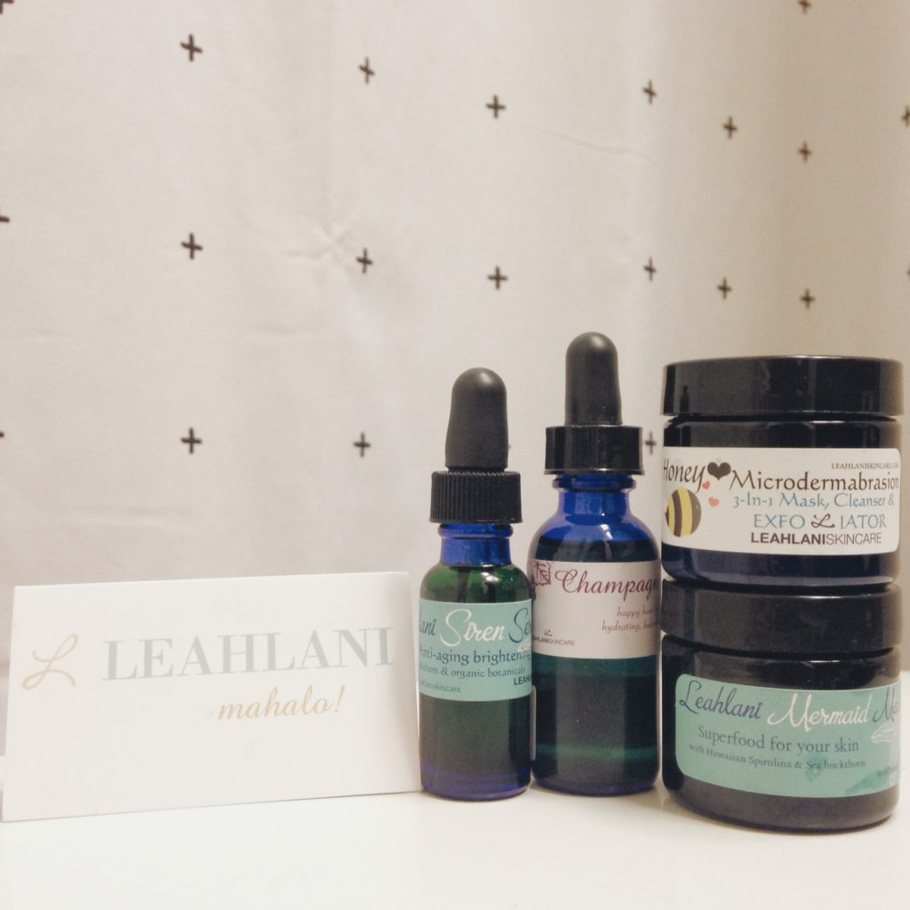 From L to R:Siren Serum, Champagne Serum, Honey Love Microdermabrasion 3-in-1 Cleanser, Mask & Exfoliator and (my fave) the Mermaid Mask!