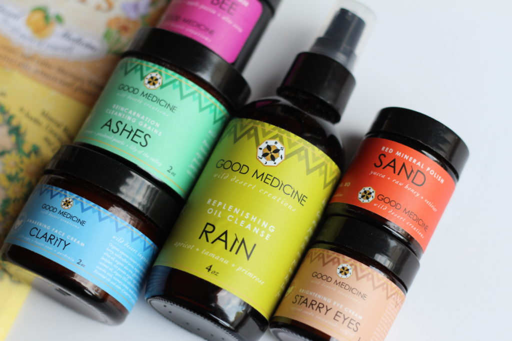 Ashes Cleansing Grains, Clarity Face Cream, Rain Oil Cleanse, starry eyes eye cream, sand mineral polish