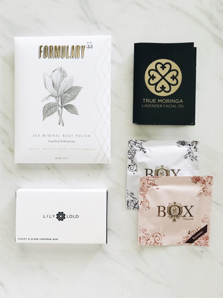Beauty box contents, makeup, personal care, body polish and face oil