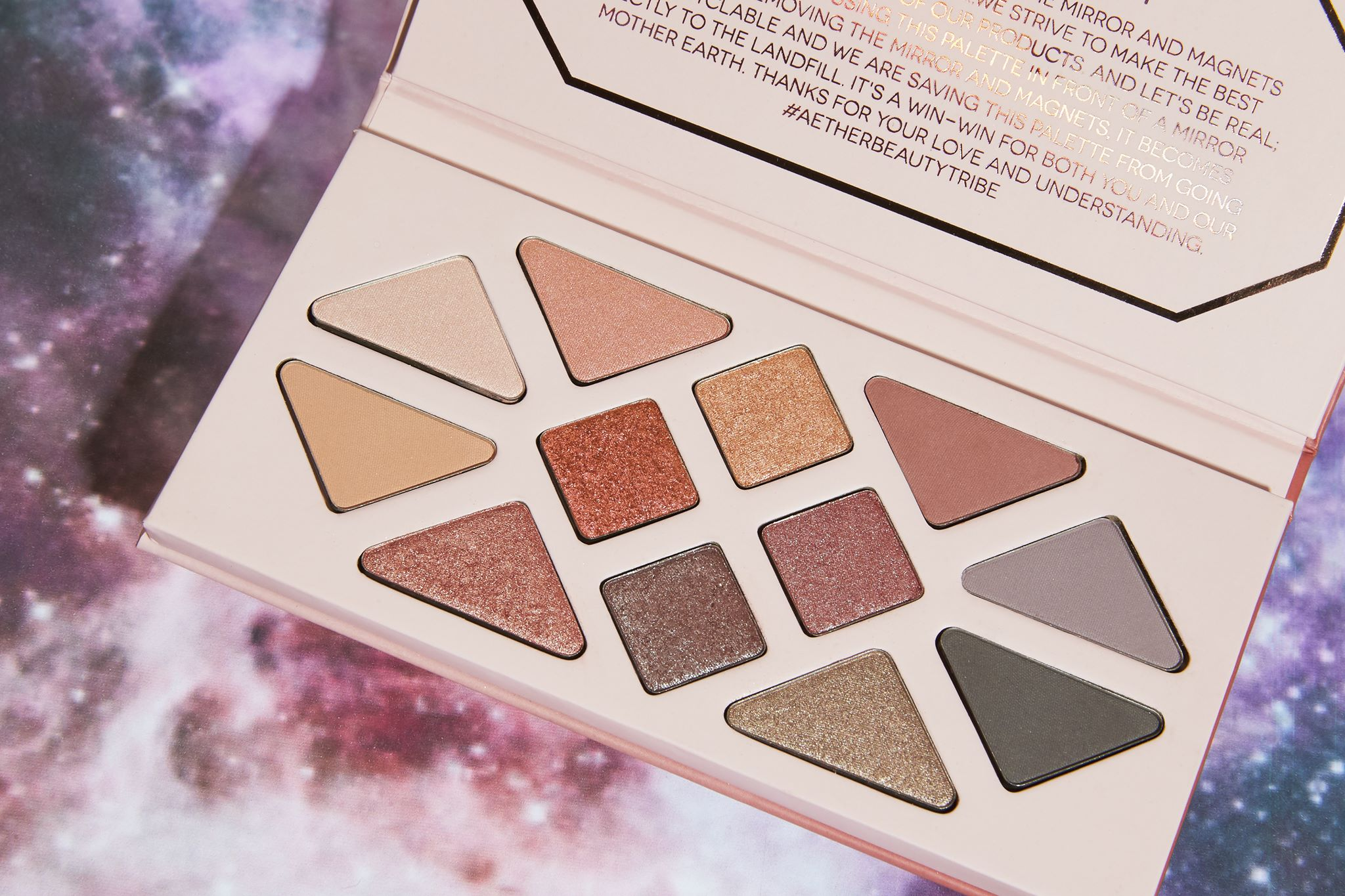 Aether Beauty Co., gemstone, makeup, eyeshadow, palette, eyes, cosmetics, sustainable, recyclable, beauty