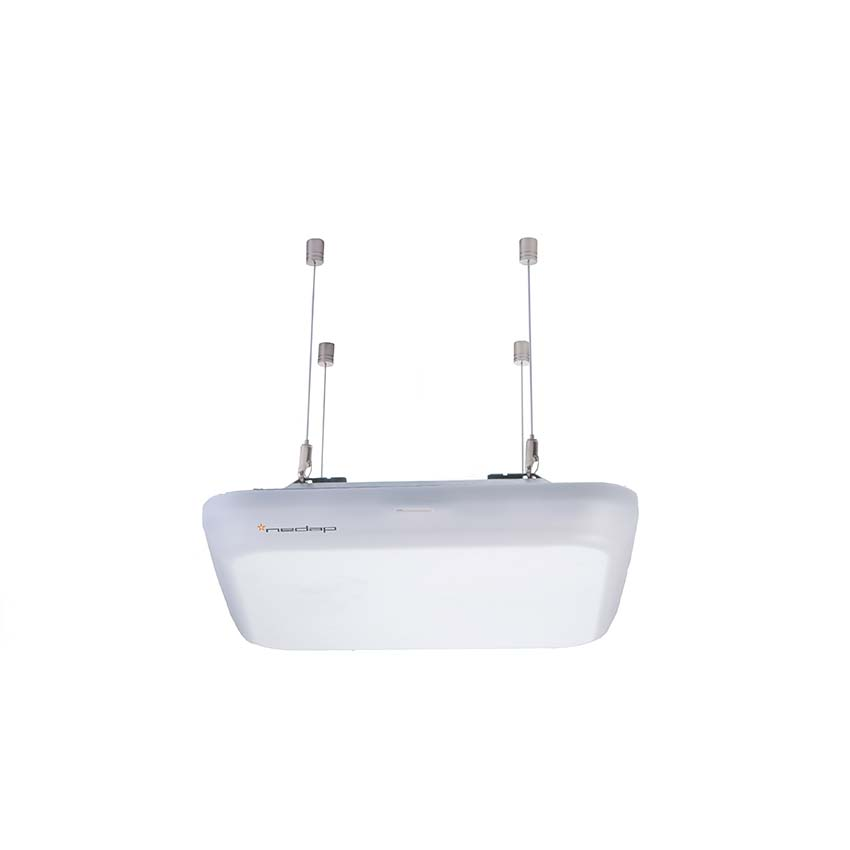 Ceiling-mounted RFID system with a modern and sleek design.