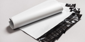Plain white stock poly mailers