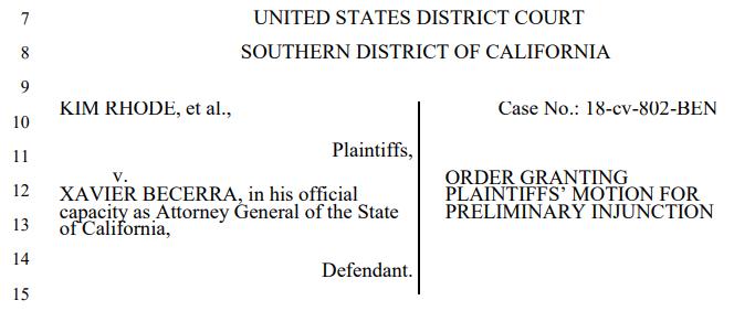 Rhode v. Becerra (Docket Number: 3:18-cv-00802-BEN-JLB) | Order on Motion for Preliminary Injunction--Document #60 | Date Filed: 4/23/2020