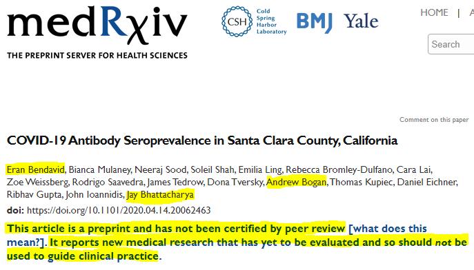 Stanford Coronavirus antibody paper