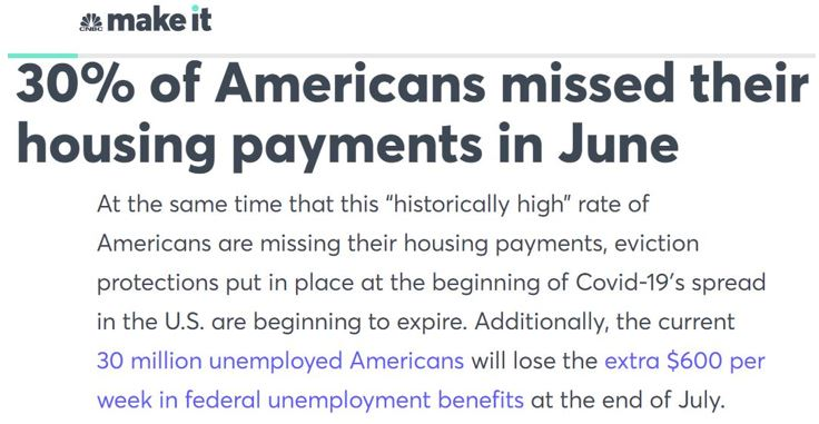 30% of Americans missed their housing payment in June!