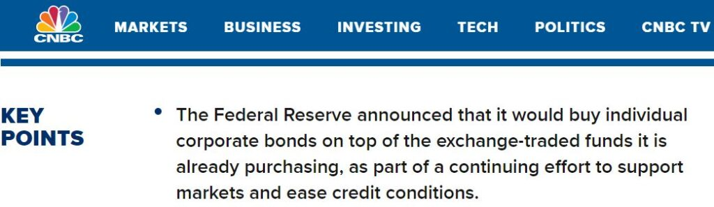 Federal Reserve--led by Jerome Powell--announces it will buy individual corporate bonds