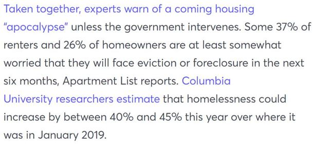 One in three Americans are facing eviction or foreclosure in the next six months--raising the risk of a housing market and economic collapse.