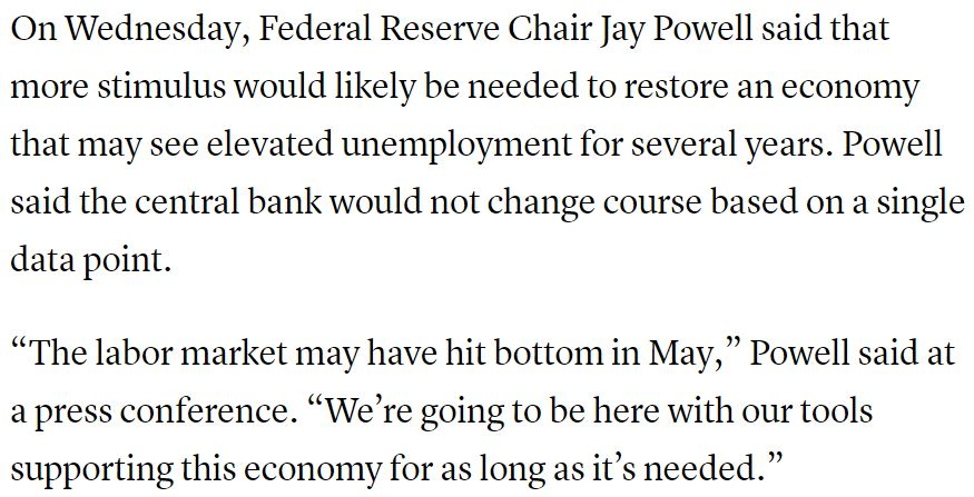 Federal Reserve Chair Jerome Powell strongly backs massive stimulus support for the American people--Trump administration and GOP turn a deaf ear?