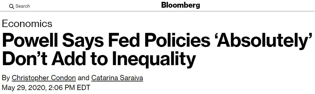 Powell Says Fed Policies 'Absolutely' Don't Add to Inequality--A Complete Lie