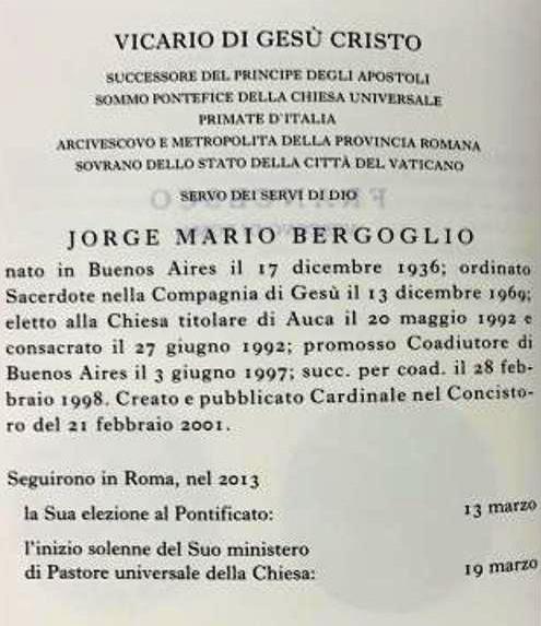2019 Vatican Yearbook: Pope Francis
