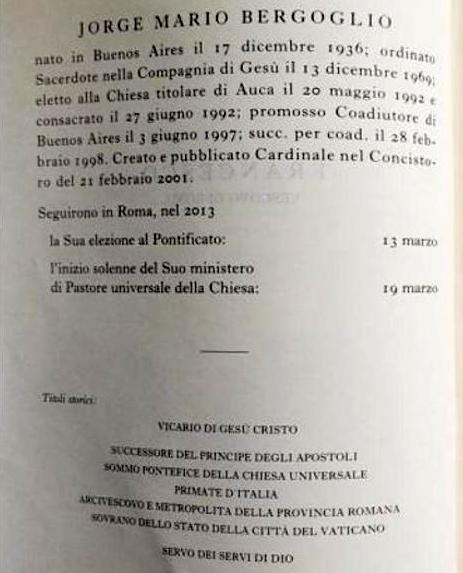 2020 Vatican Yearbook: Jorge Mario Bergoglio