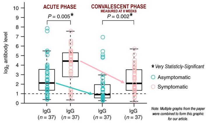 The Decline in Antibody (IgG) Levels for both Asymptomatic and Symptomatic Patients from the Acute Phase to the Convalescent Phase (as Measured at 8 Weeks)