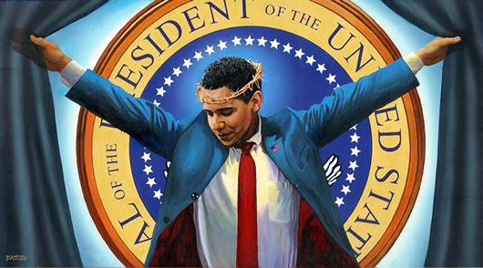 """""""The Truth"""" painting by Michael D'Antuono, marking Obama's 100th day as president."""