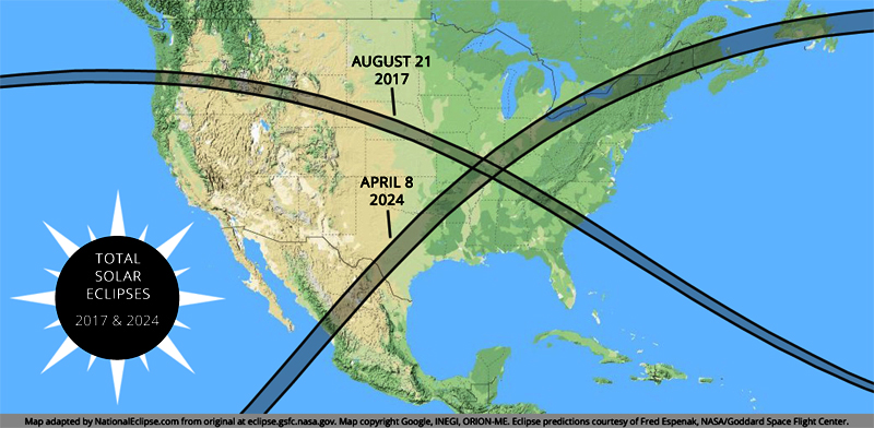 """August 21, 2017 and April 8, 2024 eclipses will form a cross or """"X"""" over the United States"""