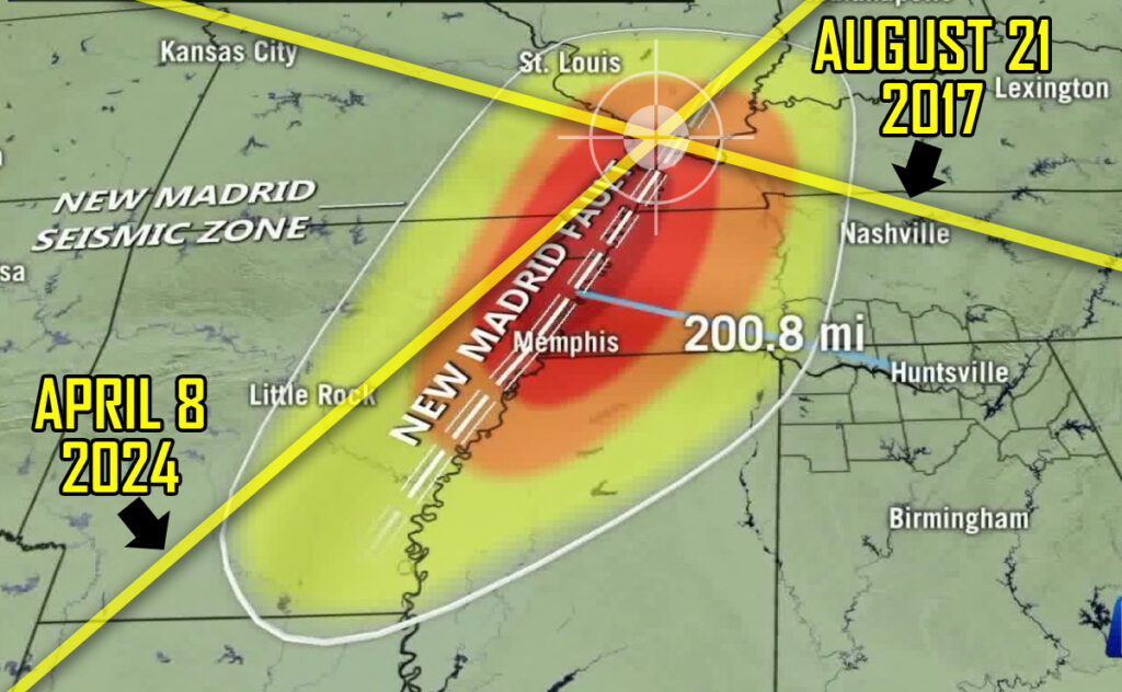 """2017 and 2024 Eclipses will form an """"X"""" over the New Madrid Fault"""