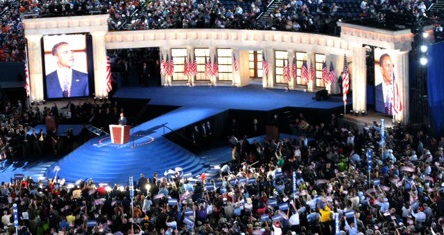 Obama employs a model of Satan's Throne (the Pergamos Alter of Zeus) during his acceptance speech at the 2008 Democratic National Convention in 2008 in Denver, Colorado
