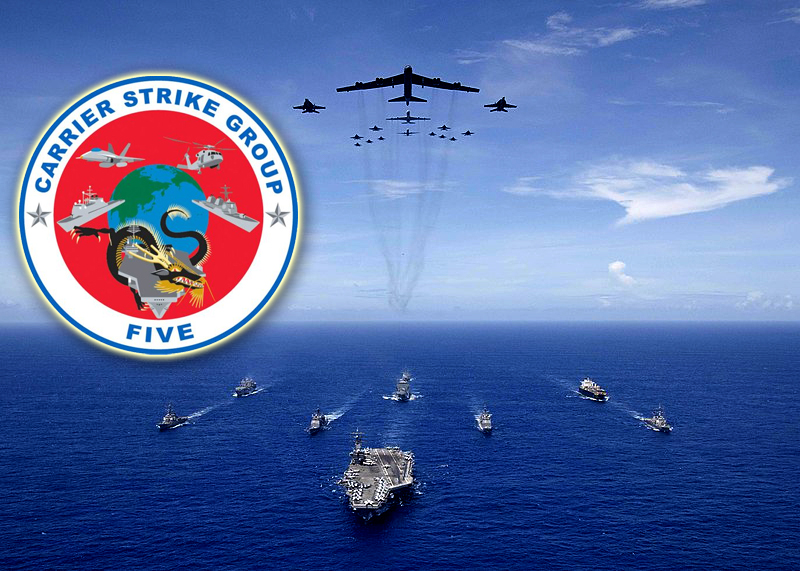 Carrier Strike Group 5 led by USS Ronald Reagan with Air Force B-52 Stratofortress and Navy F/A-18 Hornet aircraft in September 2018