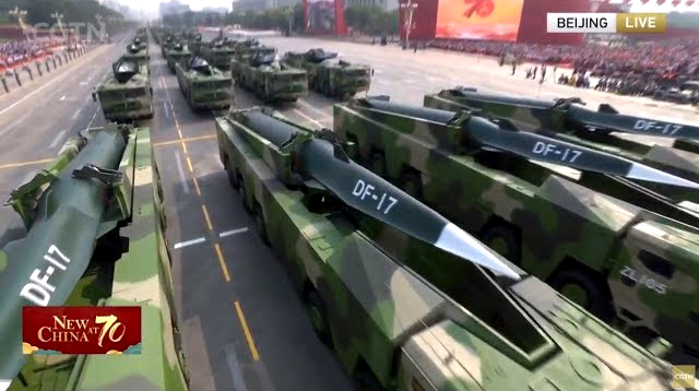 China surprises world with revealing of the Dongfeng-17 (DF-17) hypersonic missile delivery system at the 2019 National Day military parade… now being positioned along the southeast coast of the mainland in preparation for a potential invasion of Taiwan.