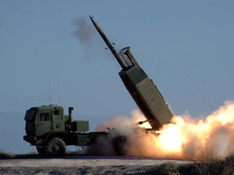 The High Mobility Artillery Rocket System fires the Army's new guided Multiple Launch Rocket System during testing at White Sands Missile Range