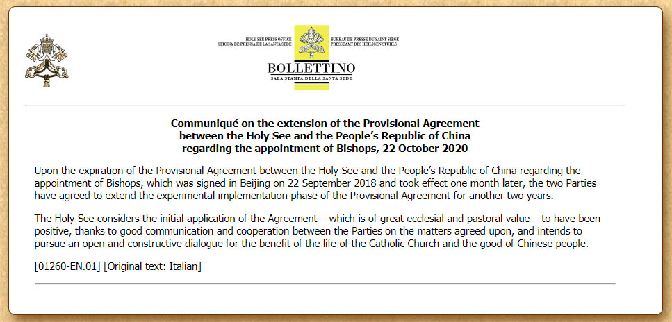 Pope Francis approves extension of Holy See agreement with the People's Republic of China and Xi Jinping regarding the appointment of Catholic bishops in China