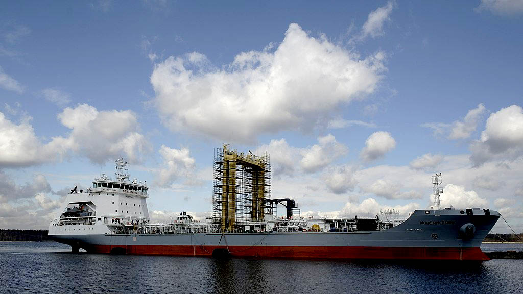 Russian Navy Ship Akedemik Pashin—a replenishment oiler used for underway replenishment