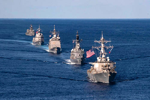 U.S. Navy and Japan Maritime Self-Defense Force ships sail in formation to kick off exercise Keen Sword, Oct. 26. (Source: Navy/MC2 Erica Bechard)