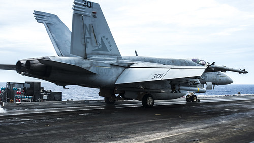 An F/A-18E assigned to Strike Fighter Squadron (VFA) 27 launches from USS Ronald Reagan (CVN 76), Oct. 15, 2020