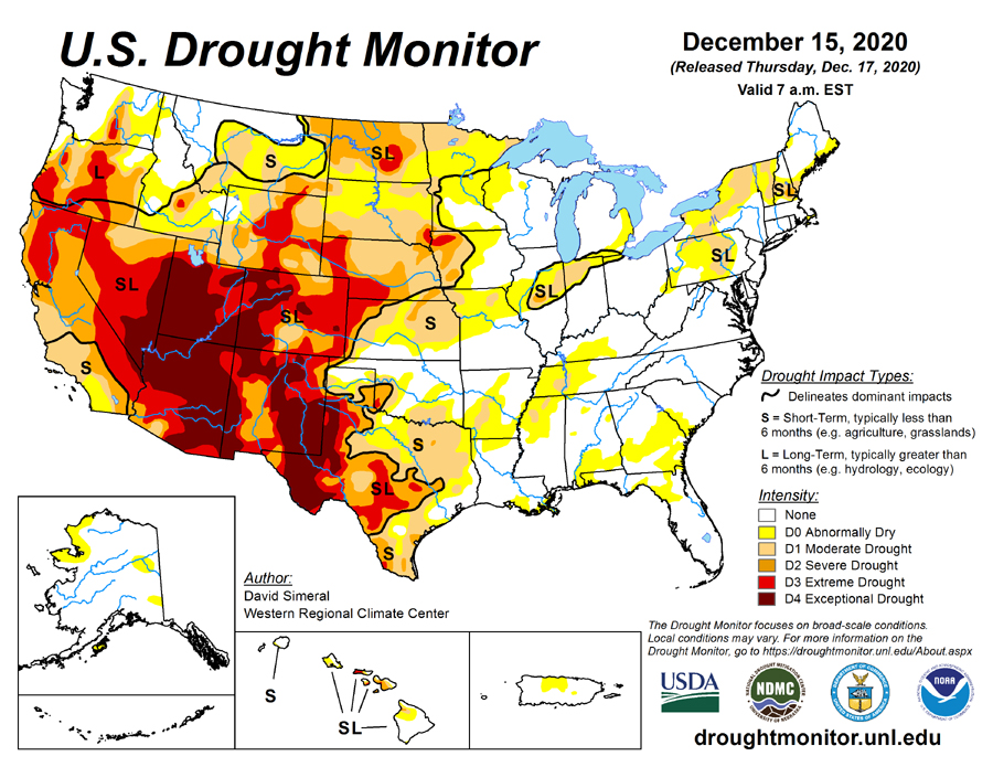 US Drought Map showing impact to crops--including soybeans