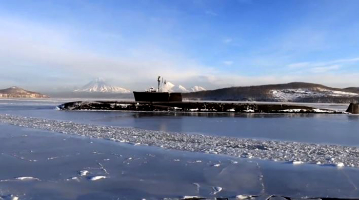 Russian navy's Vladimir Monomakh nuclear submarine in the Sea of Okhotsk, Russia, taken prior to the practice launch of four intercontinental ballistic missiles (Source: Russian Ministry Press Service)