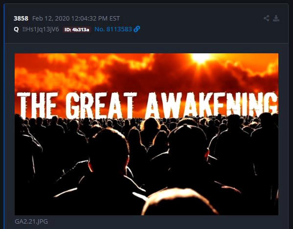 Q Intel Drop 3858--The Great Awakening