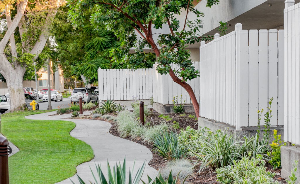 Landscaping and garden pathway on apartment grounds