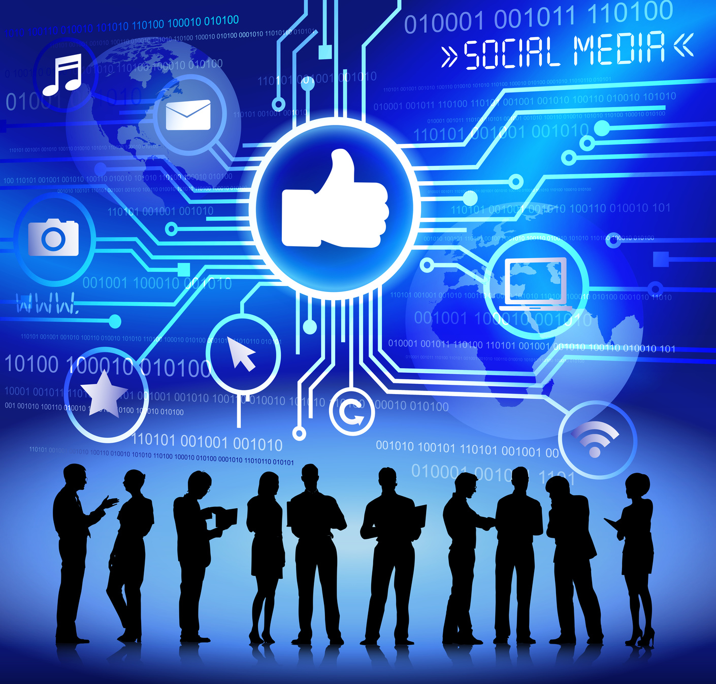 Silhouettes Business People Social Media Concept