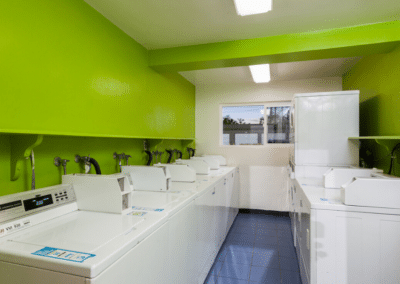 Laundry Room with Laundry machines and green walls