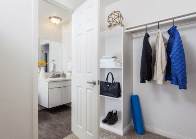 Walk in closet with clothes and purses hanging up