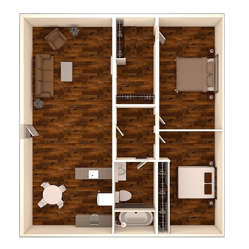 2 bed 1 bath apartment floor plan