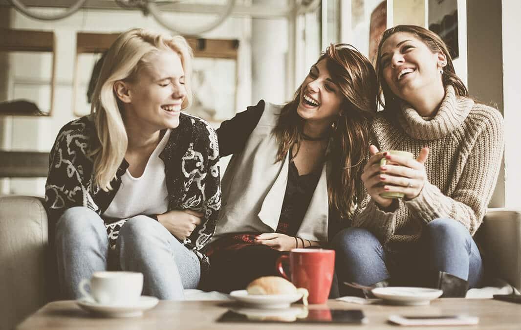 Three friends sitting
